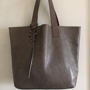 Frye Carson Gray Leather Dip Dye Large Tote Bag